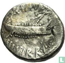 Romeinse Republiek - AR Denarius Mark Antony. Patrae 32 - 31 v.C.