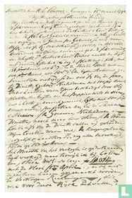Handgeschreven brief, gesigneerd en gedateerd, aan H.L. Louvrex
