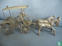 miniature Indonesia, man with 2 horses and 1 car