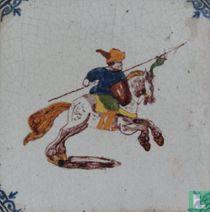 Tegel - Ruiter te paard - Tichelaar
