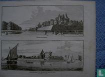 Loevestein en vanaf de Waal gezien.1748