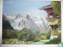 Olieverf schilderij op doek , Berglandschap