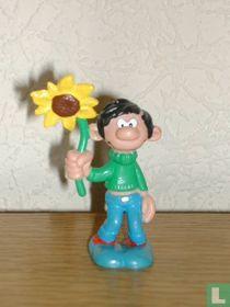 Guust Flater met zonnebloem
