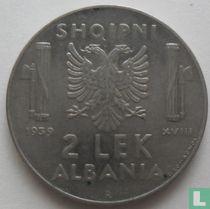 Albanië 2 lek 1939 (niet magnetisch)