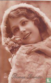 Bonne Année: Vrouw in bontjas met rozen