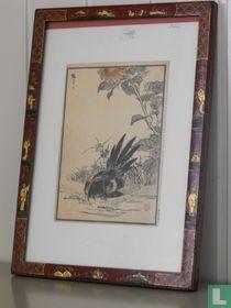Originele houtsnede in decoratieve lijst van Kono Bairei. Japan. Ca. 1850.