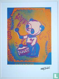 Panda drummer, 1983, oranje/rose
