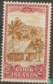 Native Hütte und Palmen