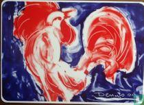 Le coq. Sérigraphie sur porcelaine, par Rosenthal