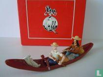 Tintin et Milou en pirogue