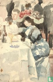 Watercolor of classy dining Lady