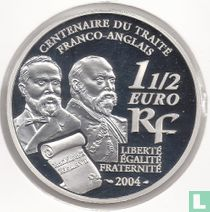 """Frankrijk 1½ euro 2004 (PROOF) """"Centenary of the Treaty between France and the UK - Entente cordiale"""""""