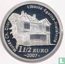 "Frankrijk 1½ euro 2007 (PROOF) ""50th anniversary of the death of Christian Dior"""