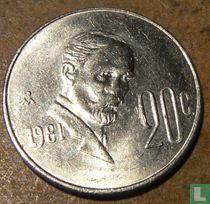 Mexico 20 centavos 1981 (misslag)
