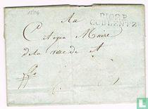 """Lettre Département Conquis """" P 102 P COBLENTZ """""""