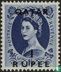 Koningin Elizabeth II met opdruk.