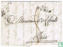 """Lettre Département Conquis """" 104 TURIN """""""