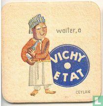 """Ceylan waiter, a Vichy Etat / Dit is een van de 30 bierviltjes """"Collectie Expo 1958""""."""