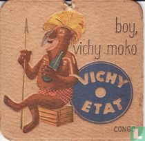"""Congo boy, Vichy moko Vichy Etat / Dit is een van de 30 bierviltjes """"Collectie Expo 1958""""."""