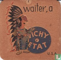 """U.S.A. waiter, a Vichy Etat / Dit is een van de 30 bierviltjes """"Collectie Expo 1958""""."""
