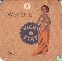 """Bali waiter, a Vichy Etat  / Dit is een van de 30 bierviltjes """"Collectie Expo 1958""""."""