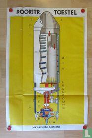 Opengewerkte technische illustratie van Gas-Keuken-Geysertje