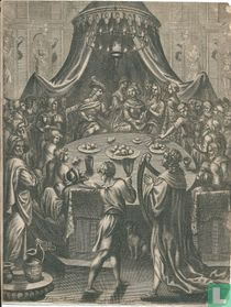 Aeneas zit bij koning Dido van Cathago aan tafel