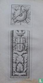 Trophée exécuté sur la Porte du Duc de Nivernois à Paris // Partie de la Voute de l'Arc de Titus à Rome.