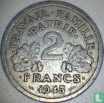 Frankreich 2 Franc 1943 (Prägefehler - ohne B)