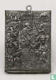 Icoon, verzilverd tafereel in relief - eerste helft 20e eeuw.