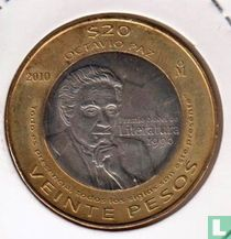 "Mexico 20 pesos 2010 ""20th anniversary Octovio Paz won Nobel Prize for literature"""