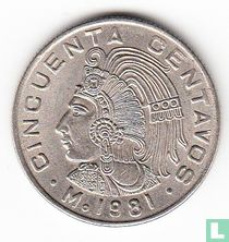 Mexico 50 centavos 1981 (smalle datum, rechthoekige 9)