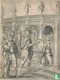 Aeneas ontmoet de Sibille van Cumae