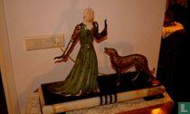art deco woman with greyhound ca 1930
