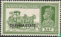 Koning George VI met methodes van postvervoer