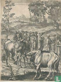 De handel in een paard en een os