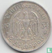 """Duitse Rijk 2 reichsmark 1934 (D) """"1st Anniversary of Nazi Rule - Potsdam Garrison Church"""""""