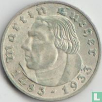 """Duitse Rijk 2 reichsmark 1933 (F) """"450th Anniversary of Martin Luther"""""""