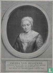 JACOBA VAN SELSTEDE, Gebooren den 28 July 1711.  in haar 24ste jaar getrouwt, in Amsterdam, den 24 October, 1734. met JACOB VAN HOORN, gaande in syn 97ste Jaar.