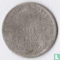 Hongarije 20 krajczar 1869