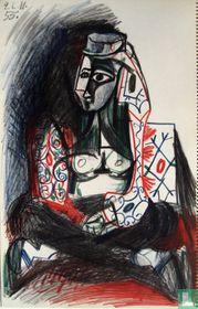 Picasso, Originele lithografie 1959 (Mourlot), JACQUELINE ROQUE- TOPLESS, 26.11.55