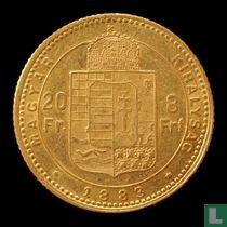Hongarije 8 forint / 20 francs 1883