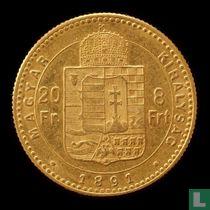 Hongarije 8 forint / 20 francs 1891