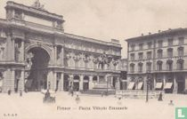 Italia Firenze Piazza Vittorio Emanuele around 1900 - Streetview Car with horse