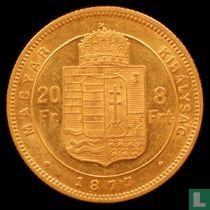 Hongarije 8 forint / 20 francs 1877