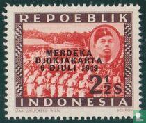 Troepen en Sukarno met opdruk