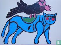 Chat Blue avec Oiseau Noir