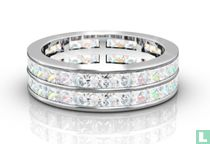 Two Row Princess Cut Diamond Full Eternity Ring