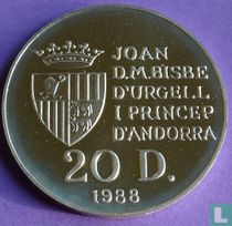 "Andorra 20 diners 1988 (PROOF) ""1992 Summer Olympics in Barcelona"""