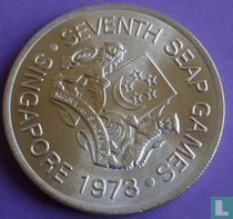 """Singapore 5 dollars 1973 (PROOF) """"7th Southeast Asian Games in Singapore"""""""